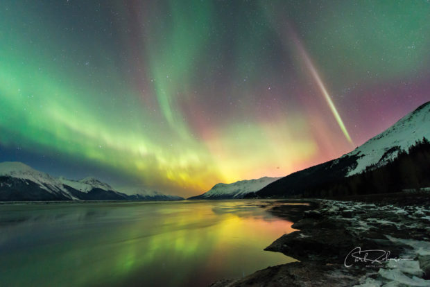 Aurora borealis over Turnagain Arm in Chugach National Forest, Alaska, in mid-March.