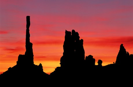 Fiery sunrise in Monument Valley.