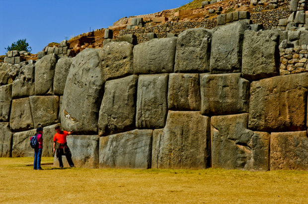 Centuries old Inca masonry is still in perfect condition at historic Sacsaywaman in the hills above Cuzco, Peru.