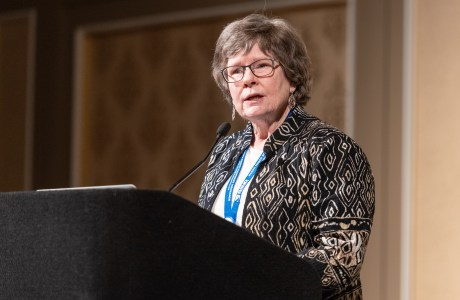 Mary Jane Gibson, Vice President of the NANPA Foundation Board of Trustees announces the results of a challenge grant at the 2019 Nature Photography Summit.