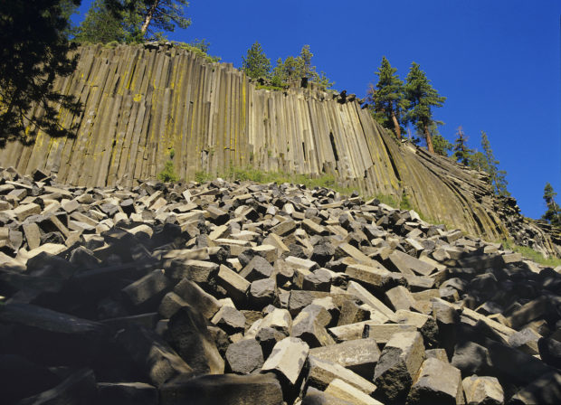 Columns of basaltic rock tower over you at aptly named Devil's Postpile.