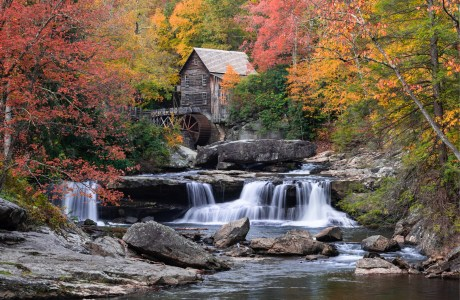 Fall foliage at Glade Creek Grist Mill, Babcock State Park, WV.
