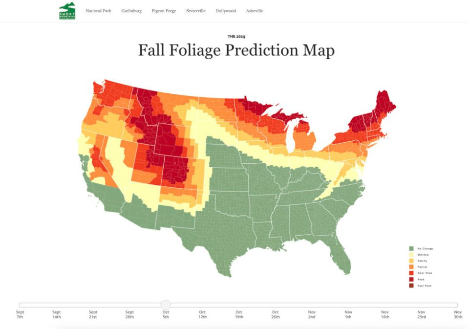 The Great Smokey Mountains Fall Foliage Prediction Map is a boon to leaf peepers.