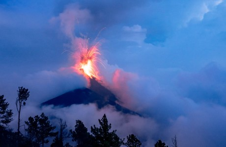 Photo of volcano erupting.