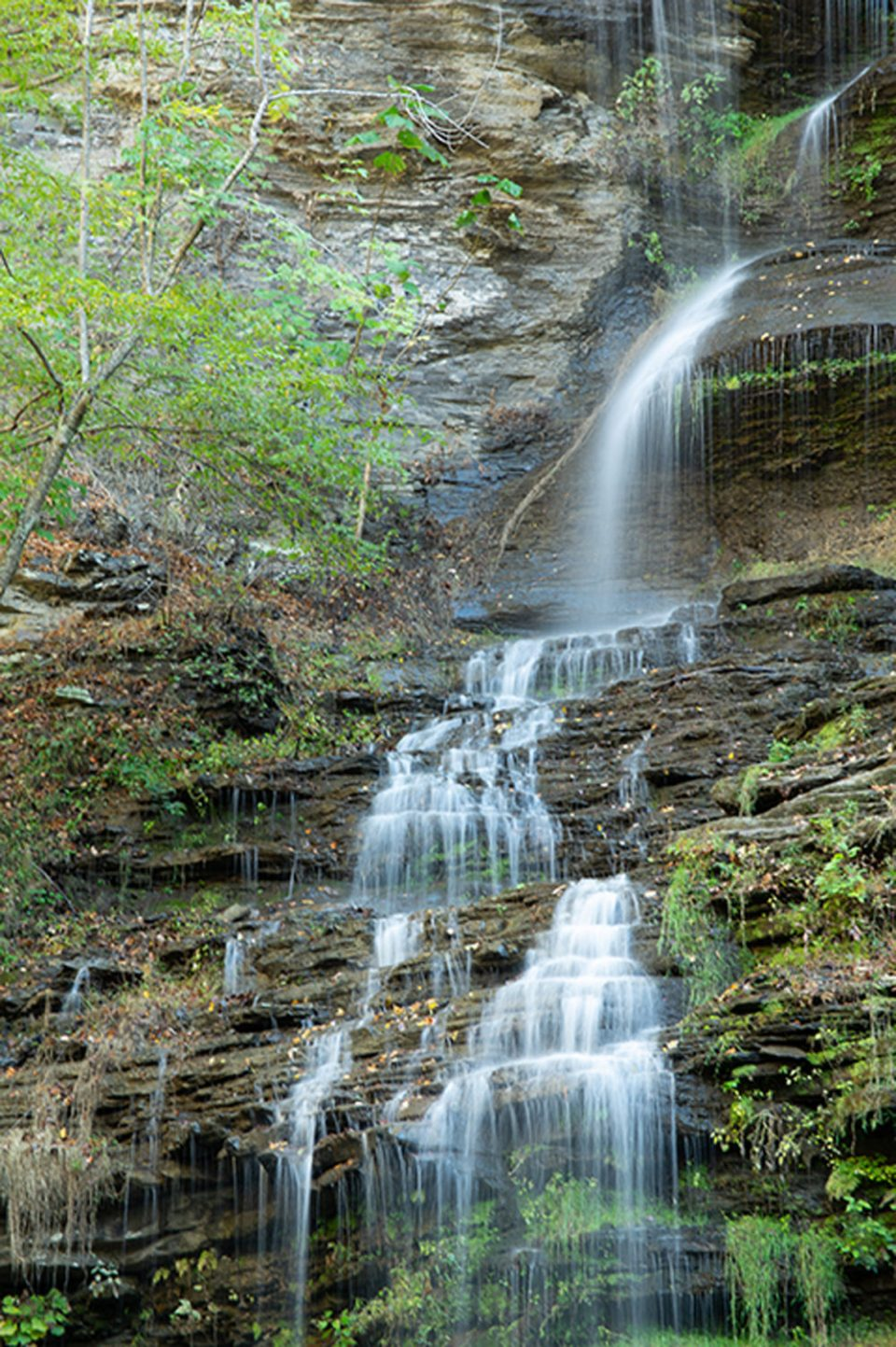 Lovely and lacey Cathedral Falls drops within its own wide rock alcove right along Route 60 near Amsted, WV.