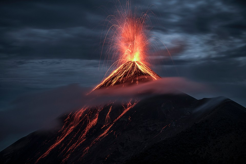 "Showcase 2019 Top 100 winner: ""Eruption at Fuego Volcano, Volcan de Fuego, Guatemala"" © Hector Astorga."