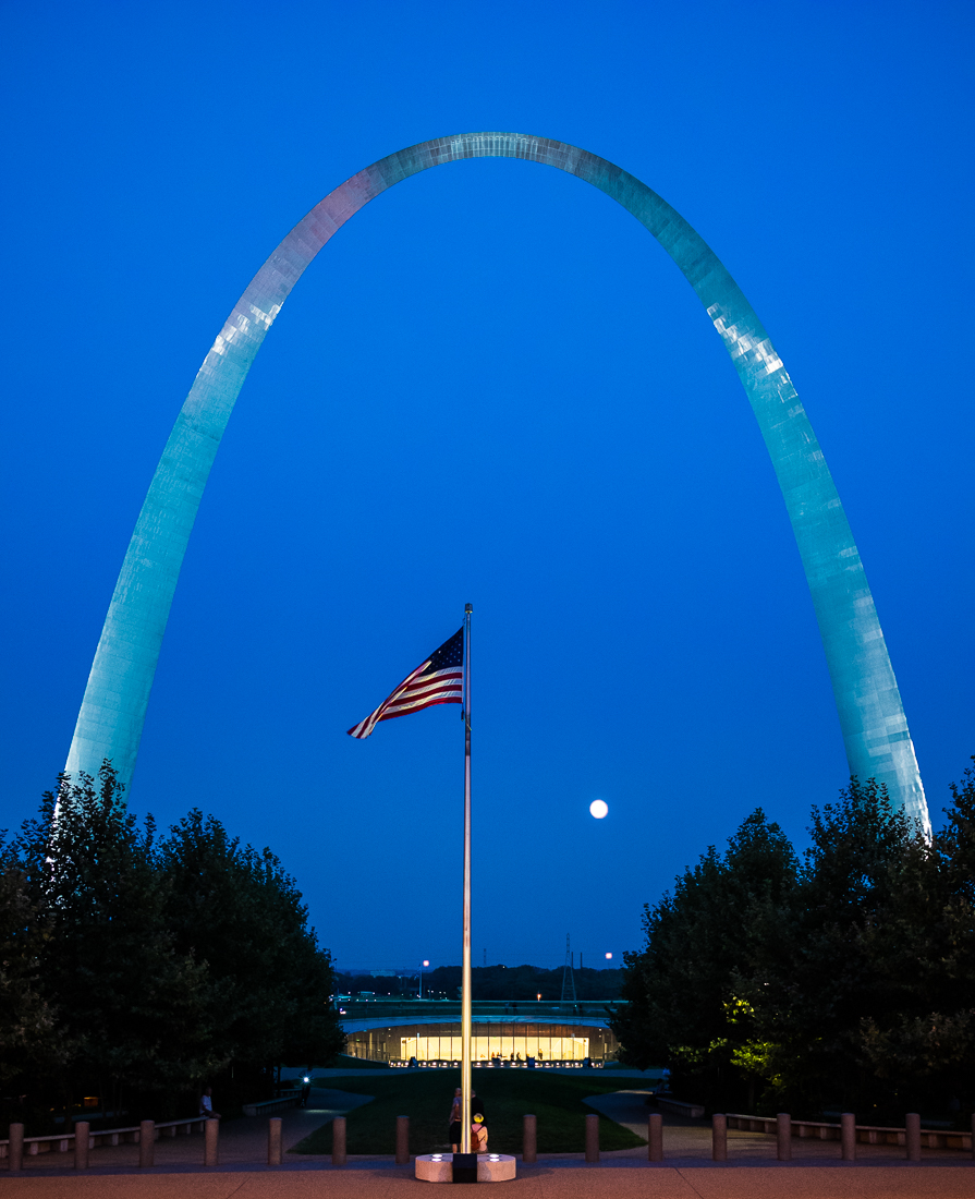 The Gateway Arch rises majestically 630 feet over St. Louis and the Mississippi River in Gateway Arch National Park, MO.