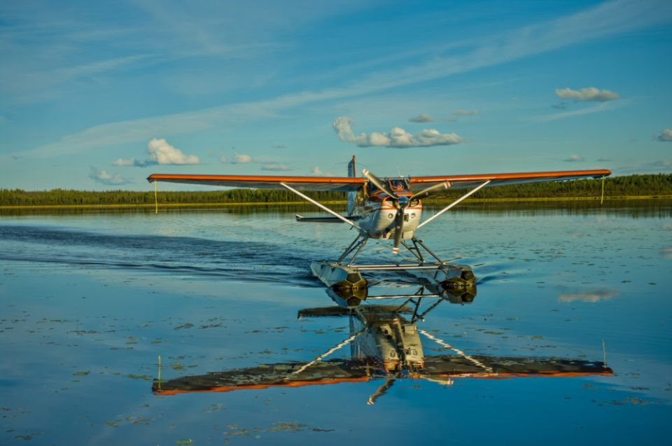 Typical Alaskan floatplane. in Gates of the Arctic National Park.