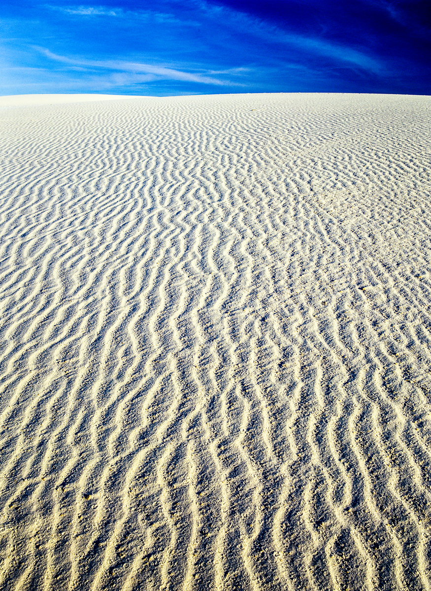 Endless ripples in the shifting sands of White Sands National Park, New Mexico.