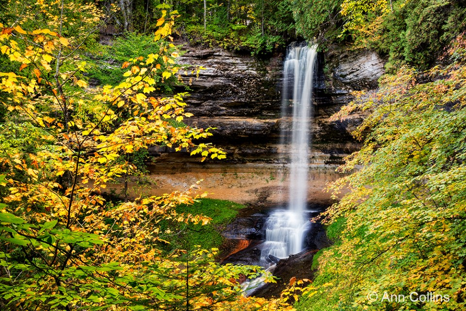 Photo of waterfall.  Munising Falls, Pictured Rocks National Lakeshore: I photographed here with the workshop group, and we had enough space and time to explore the falls from different angles and get some nice fall shots.