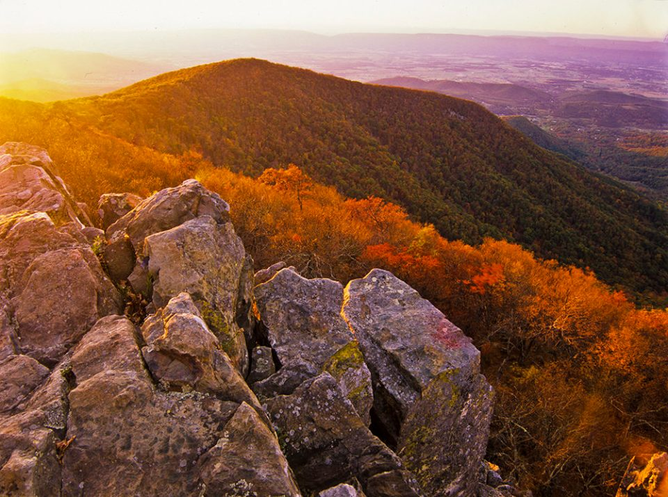 View at sunset from Hawksbill Summit