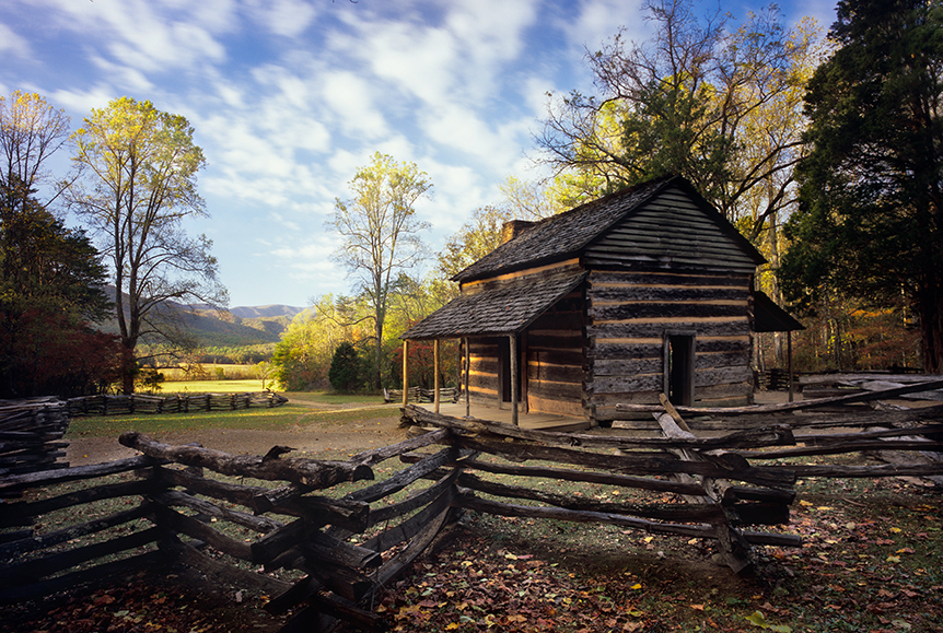 John Oliver Cabin – The first rays of early morning begin to advance through Cade's Cove in Great Smoky Mountains National Park.  Horseman SW612P, 55mm APO-Grandagon, Center Filter, Velvia.