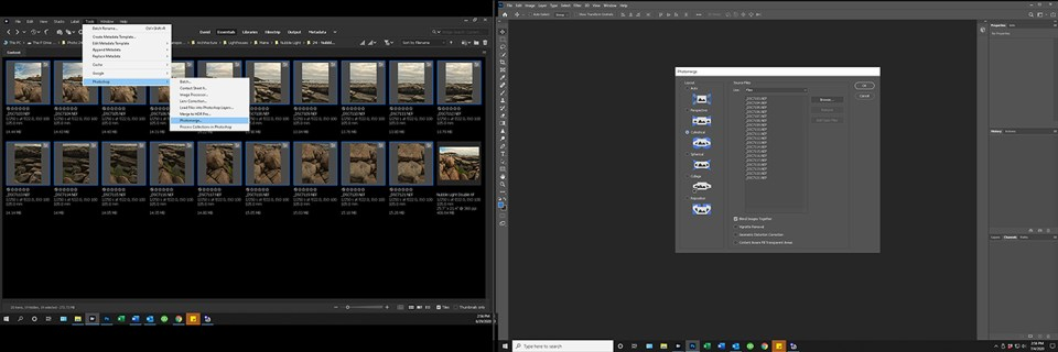 Screenshot of Photoshop panorama interface