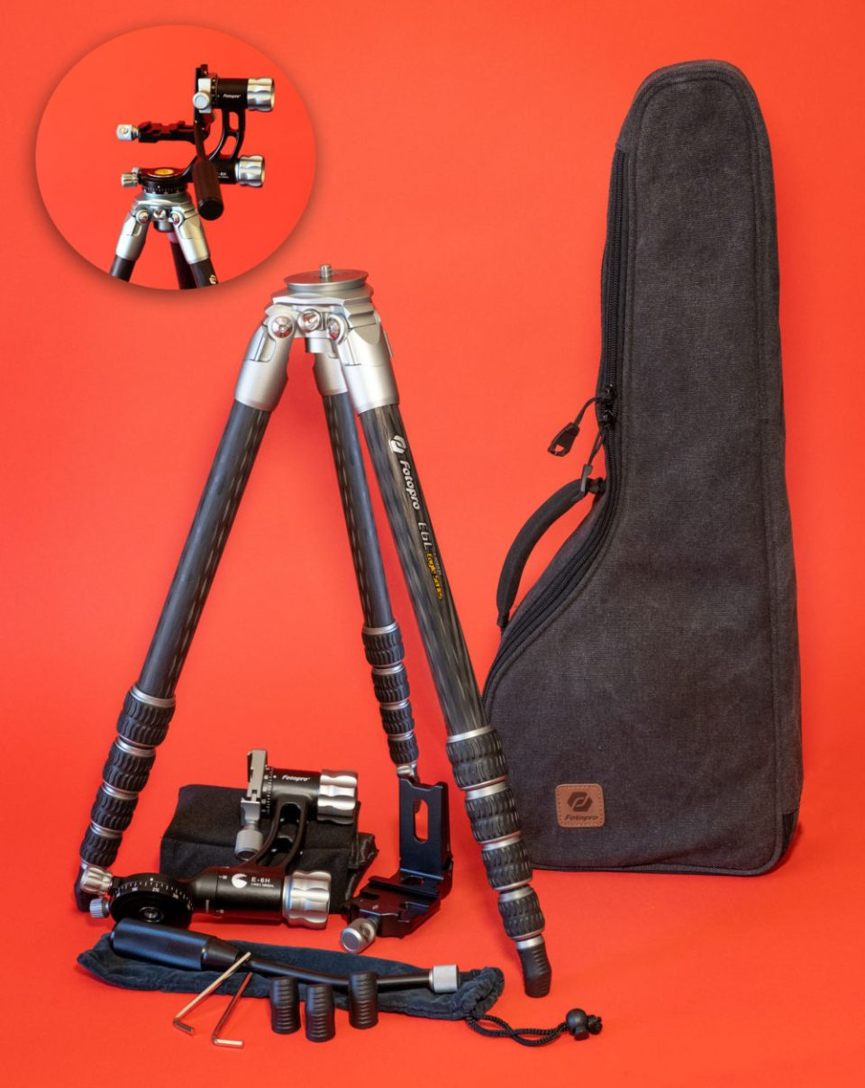 The Fotopro tripod kit comes with the 24-inch travel bag that is shown here. © Bob Coates