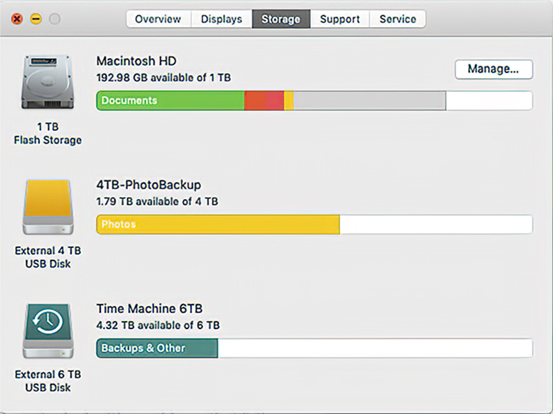 Screen shot of storage usage. Time for a little decluttering as my HD is down to less than 20% available.