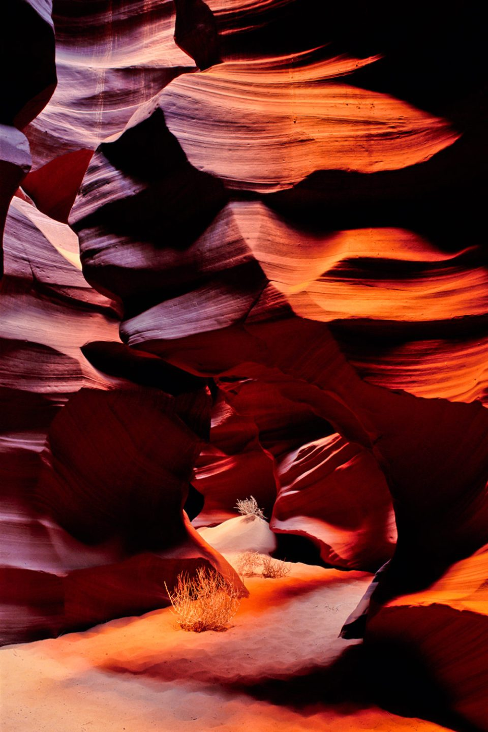 Light filters down into a unique slot canyon. This image of the Corkscrew in Lower Antelope Canyon has appeared on the cover of Arizona Highways magazine.© Jerry Ginsberg