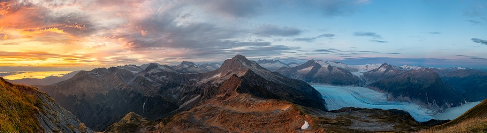 A 45 Image, Multi-Row Panorama of the Alaskan Coastal Mountain Range, by Peter Nestler