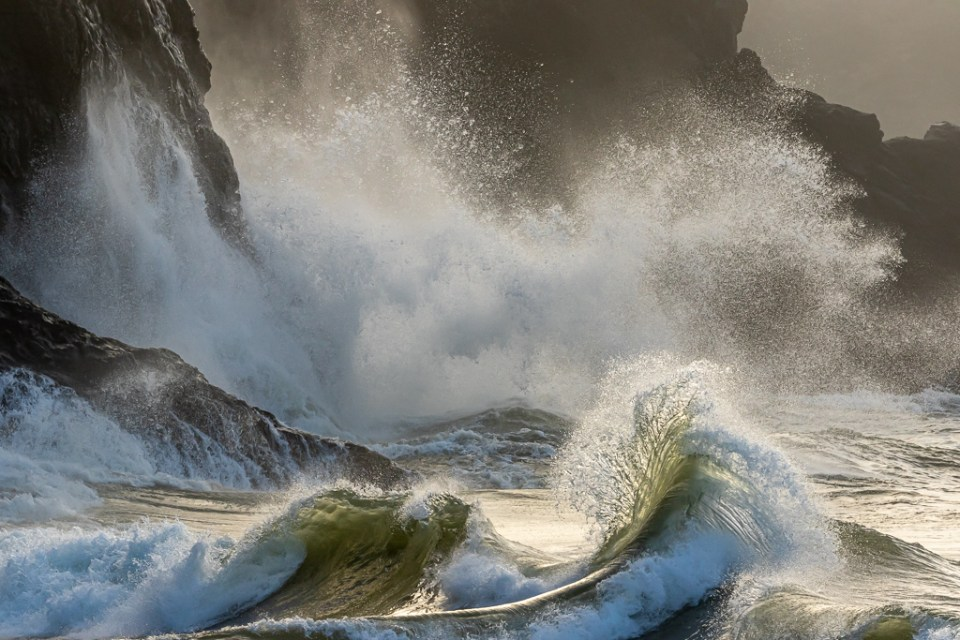 Waves and surf during a king tide, Cape Disappointment State Park, image by William Sutton
