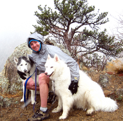 This is Aeric and our huskies, Nanook and Jasmine, on one of the many hikes we did near our home in Colorado. Aeric taught me that ponderosa pine trees smell like vanilla on this hike.