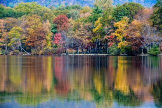 Fall foliage at Hessian Lake Bear Mountain State Park Bear Mountain, NY