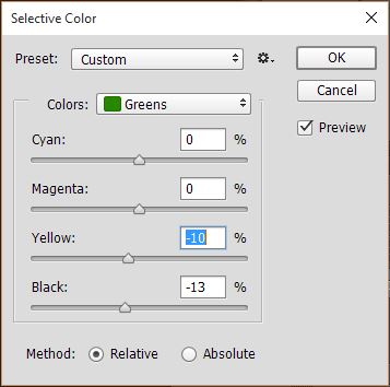 "Fig. 3 - Photoshop selective color functions, showing reduced yellow and black in the green tones, to compensate for ""leakage"" in the earlier color balance corrections."