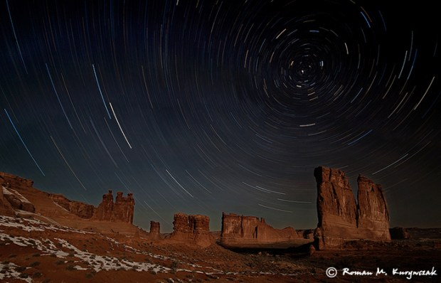 Moonlit nightscape at Arches National Park. Sigma 12-24mm lens @ 12mm, f/4.5, ISO 160, exposed for just over an hour. Photo by Roman Kurywczak