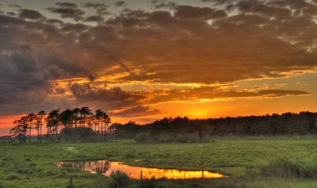 Sunset at Black Duck Marsh located on the west side of Beach Road at Chincoteague National Wildlife Refuge, Virginia. © Jim Clark