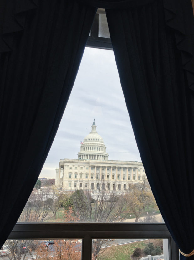 View to Congress from window of Congressman John Conyers' office, Washington D.C. USA.
