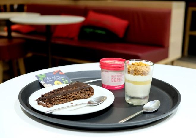 Desserts Vapiano : death by chocolate, sorbet framboise et dessert d'automne au miel et speculoos