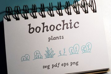100 Boho-Chic Plants and Leaves Vectors - Mega Pack