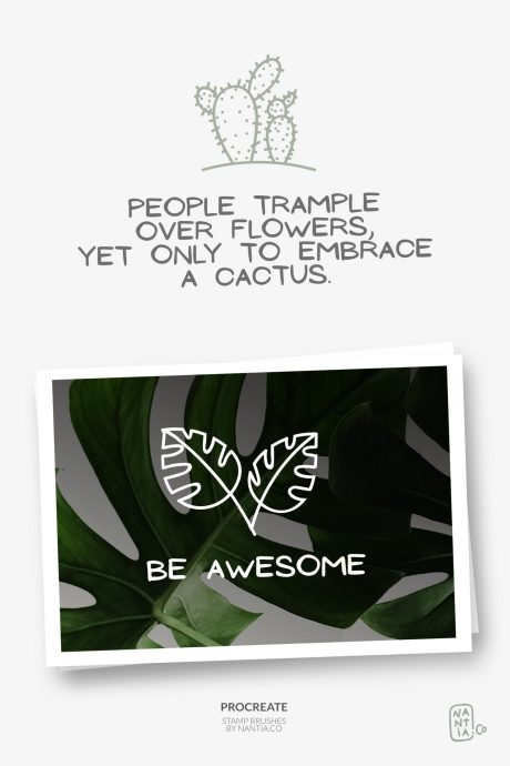 100 Procreate stamps Boho-Chic Plants and Leaves