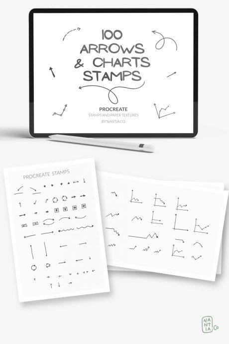 100 Arrow Procreate Stamp Brushes