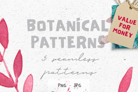 5 Botanical Seamless Patterns