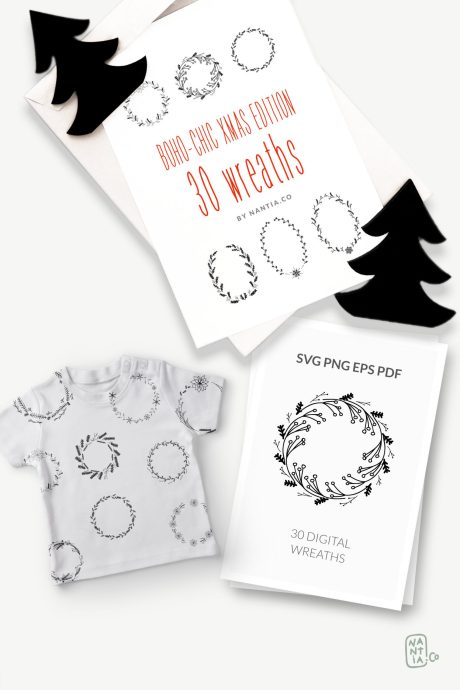 30 Christmas Vector Wreaths