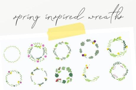 20 Spring Wreaths Vector Pack