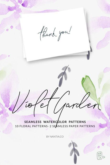 Violet Garden Watercolor Patterns