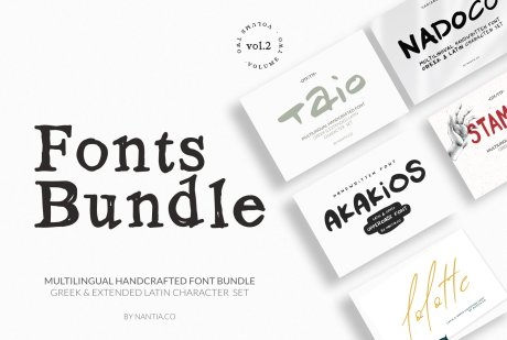 Greek Fonts Bundle Vol.2 By Nantia.co. Buy Nantia.co font bundles.