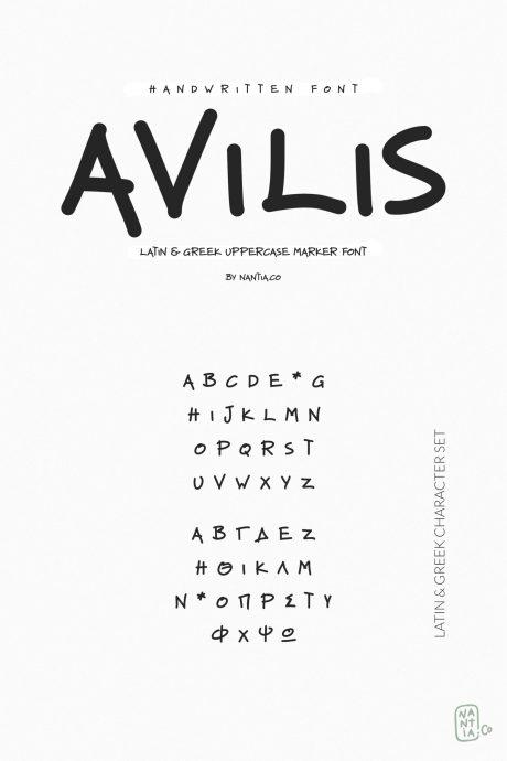 Avilis Uppercase Latin & Greek Font
