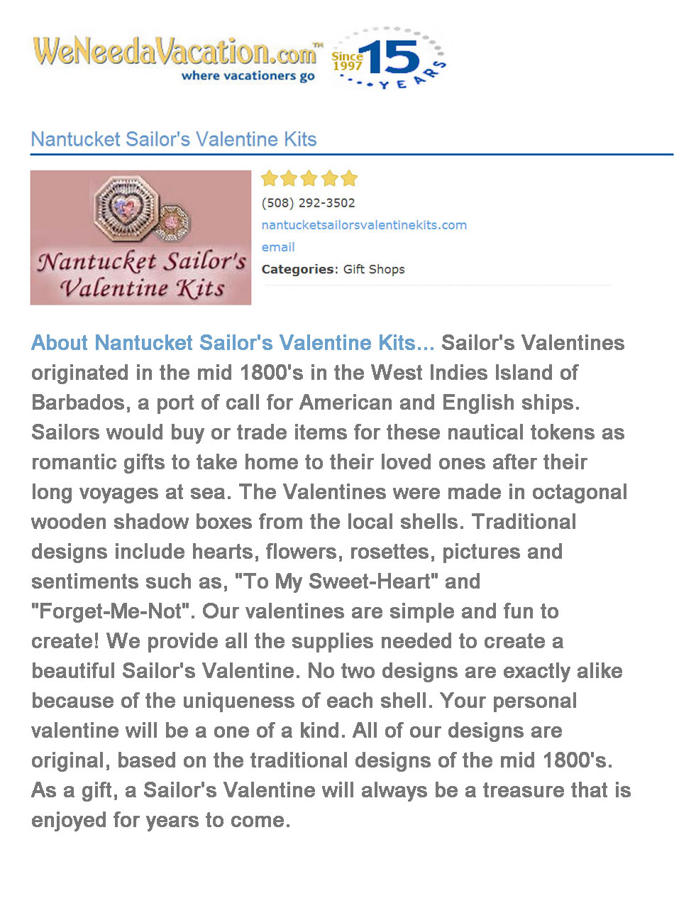 2009 We Need A Vacation Nantucket Sailors Valentines