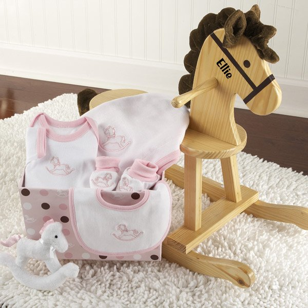 Rockabye Baby Personalized Rocking Horse with Plush Toy and Layette Gift Set (Pink) - NanyCrafts