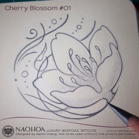 4x4 Cherry Blossom / Sakura tattoo design by Naomi Hoang.