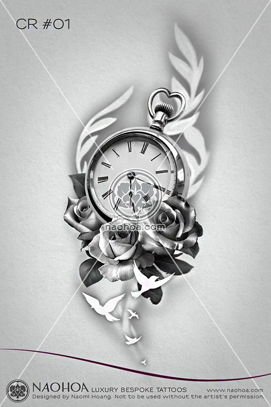 An original tattoo design by Naomi Hoang, featuring a pocket watch, roses and birds flying away.