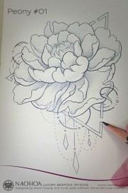 Georganic Peony flower tattoo design by Naomi Hoang.