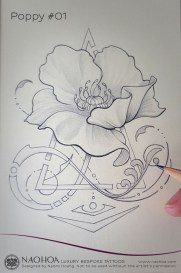 Georganic poppy flower tattoo design by Naomi Hoang.
