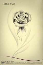 Delicate tattoo design of a rose by Naomi Hoang.