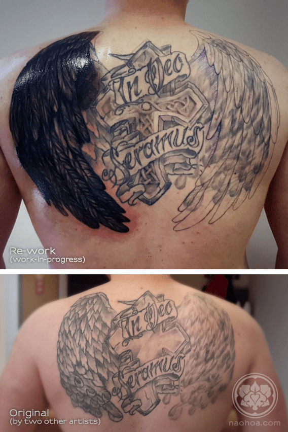 "A work-in-progress shot of a large back tattoo containing a Christian cross, a pair of wings and the saying, ""In dec seramus""."