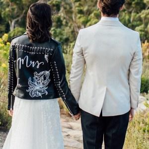 Gepersonaliseerd jasje bruiloft bruid Mrs bikerjasje Studio Naokies