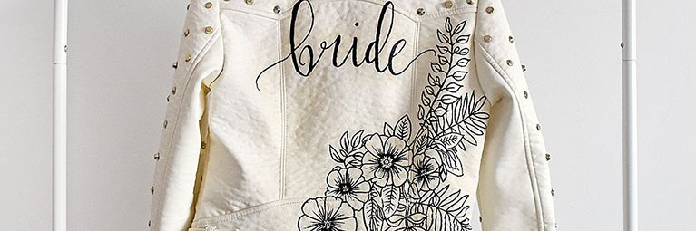 Customised leren jasje 'Bride' wit closeup artwork studio Naokies
