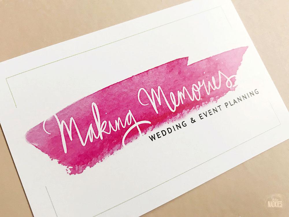 Branding voor Making Memories Wedding & Eventplanning visitekaartje voorkant Studio Naokies