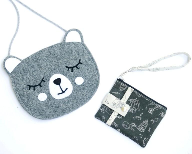 torebka kot z filcu i portfelik w kotki